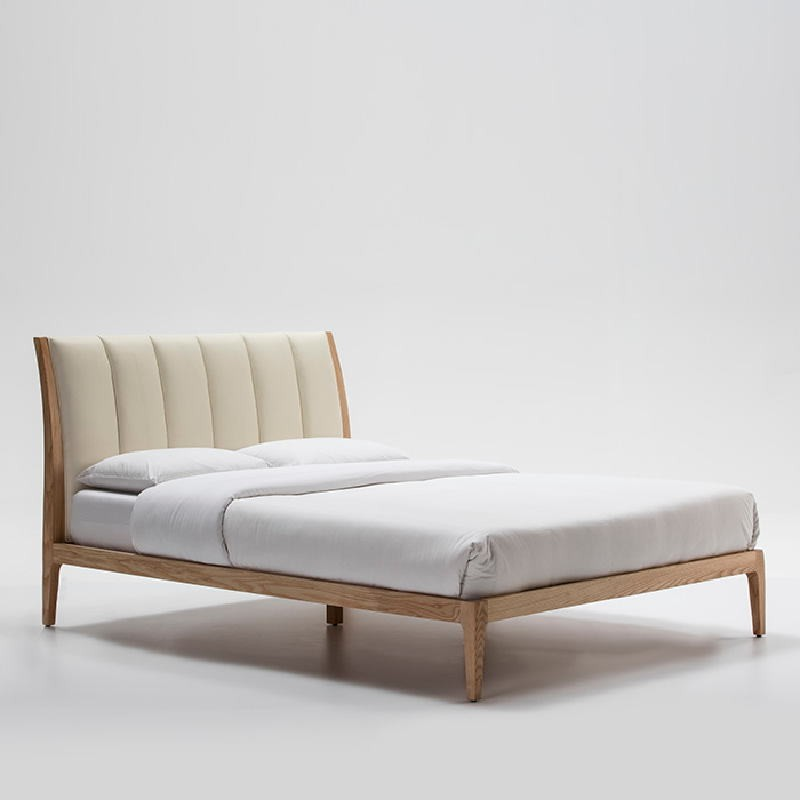 Bed 157X217X104 Ash Wood P.Leather Beige - image 51923