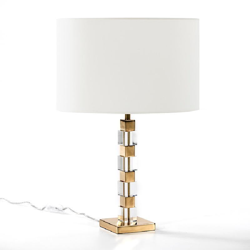 Lampe de Table sans abat-jour 12x12x42 Acrylique Métal Doré - image 51945