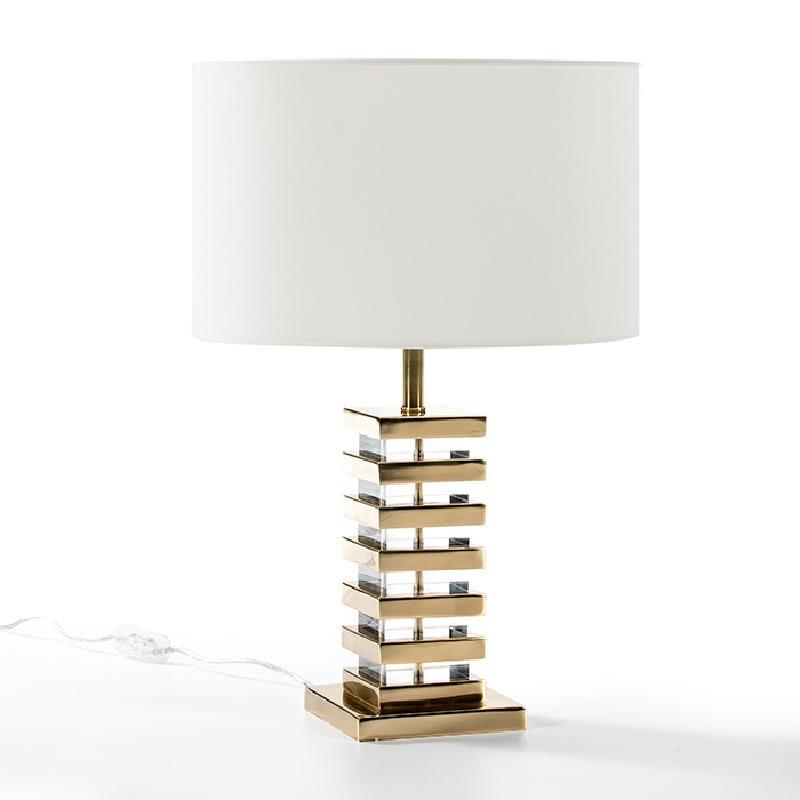 Lampe de Table sans abat-jour 15x15x41 Acrylique Métal Doré - image 51946