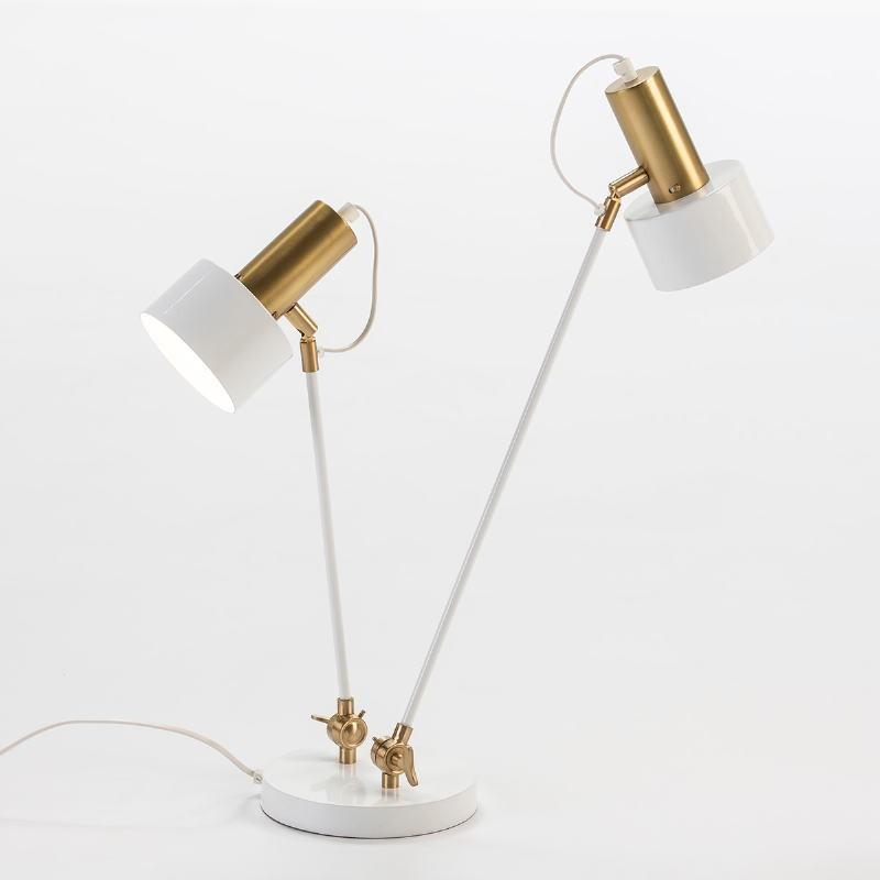 Lampe de Table 52x18x63 Métal Blanc Doré - image 51963