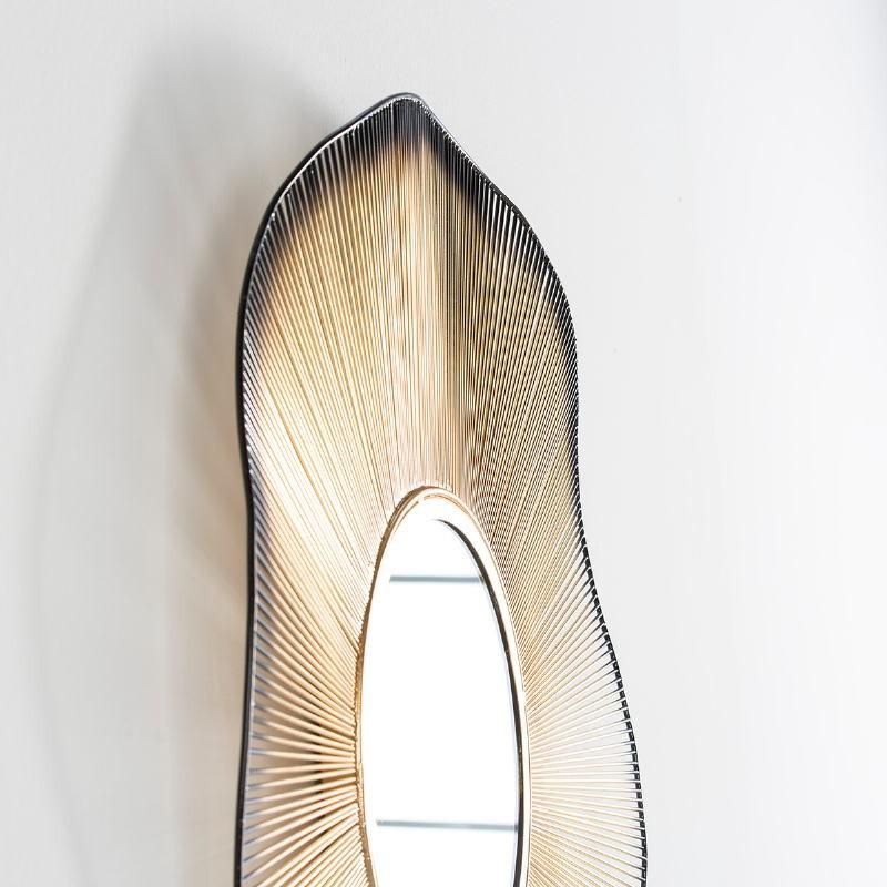 Mirror 75X4X75 Glass Metal Golden Black - image 52004