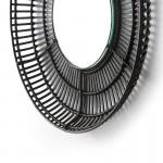 Mirror 70X8X70 Glass Wicker Black