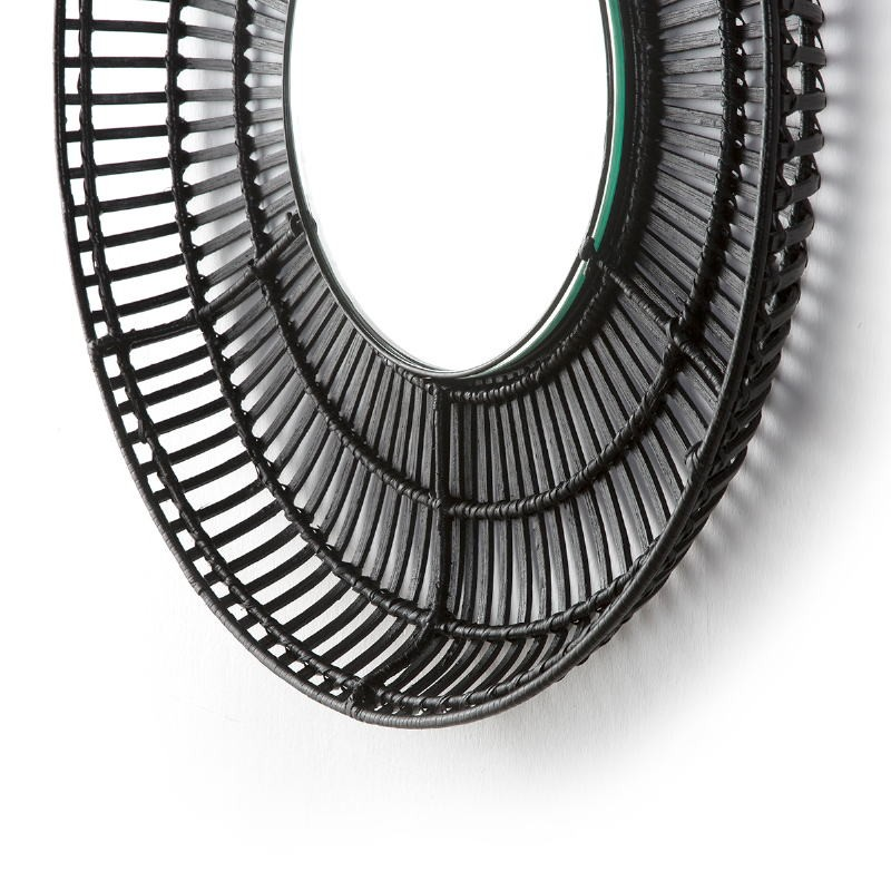 Mirror 70X8X70 Glass Wicker Black - image 52029