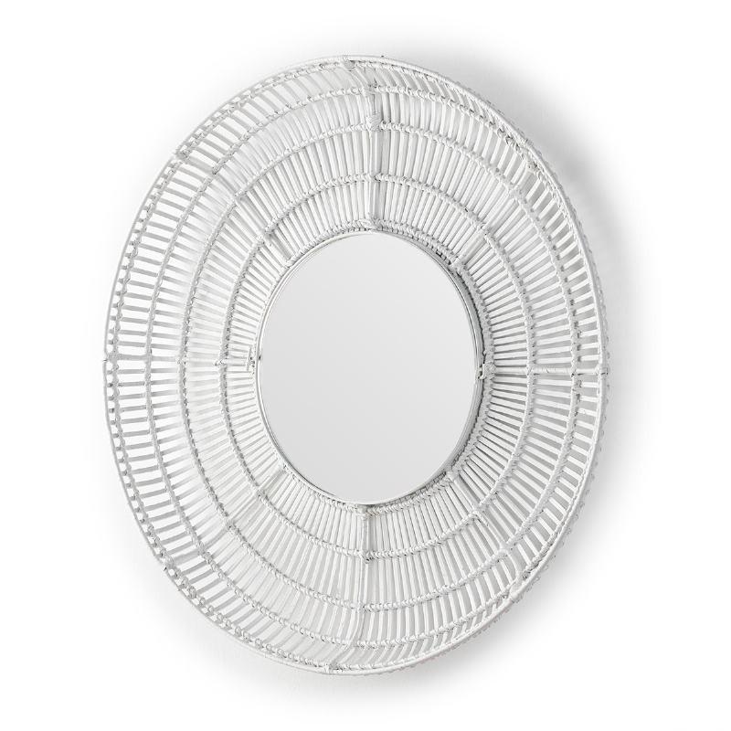 Specchio 90X8X90 Vetro Vimini Bianco