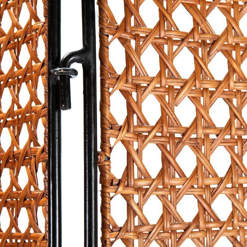 Folding Screen 140X2X178 Wicker Honey Metal Black - image 52048