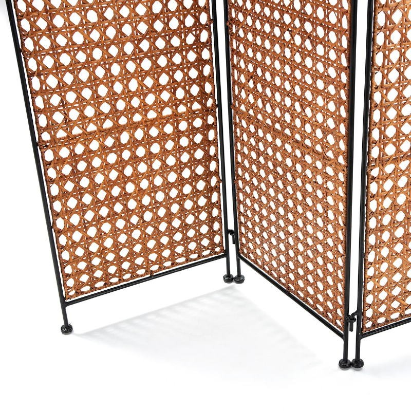 Folding Screen 140X2X178 Wicker Honey Metal Black - image 52049