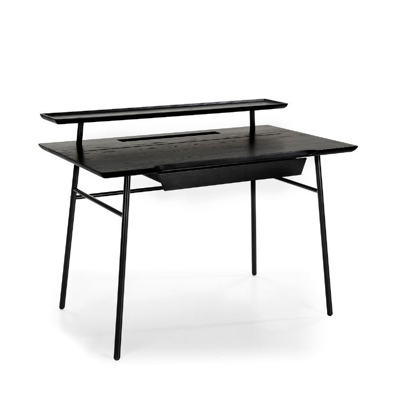 Bureau droit design 120x70x91 Bois Noir Métal Noir