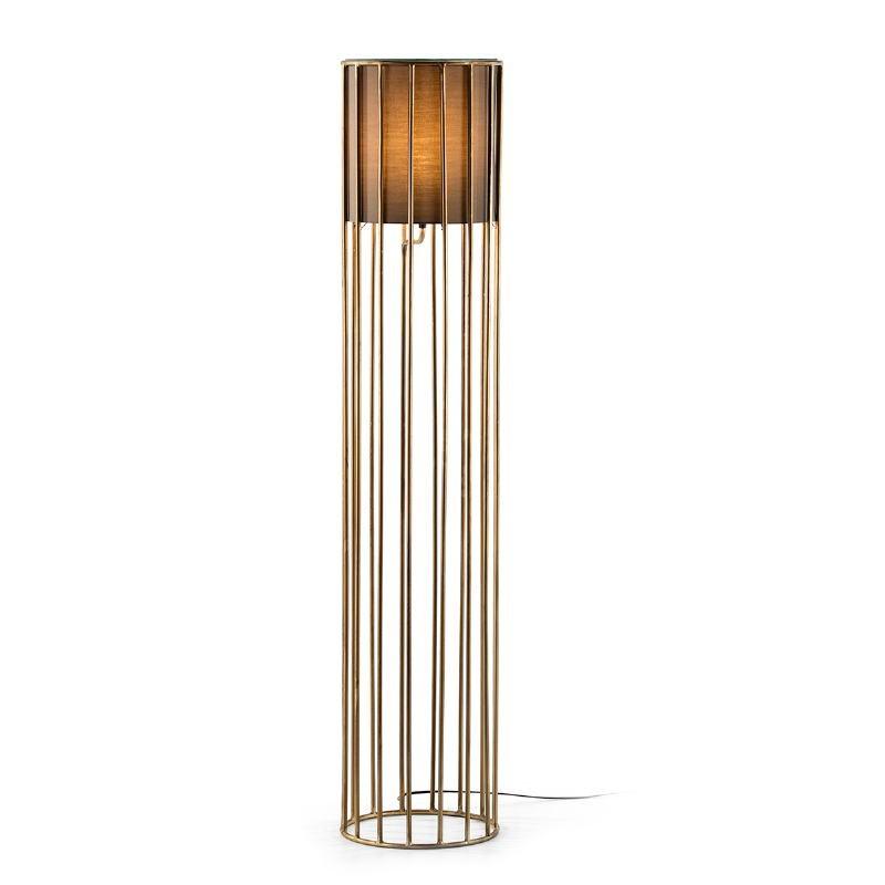 Lampada A Stelo 30X30X145 Metallo Dorato Con Paralume Marrone