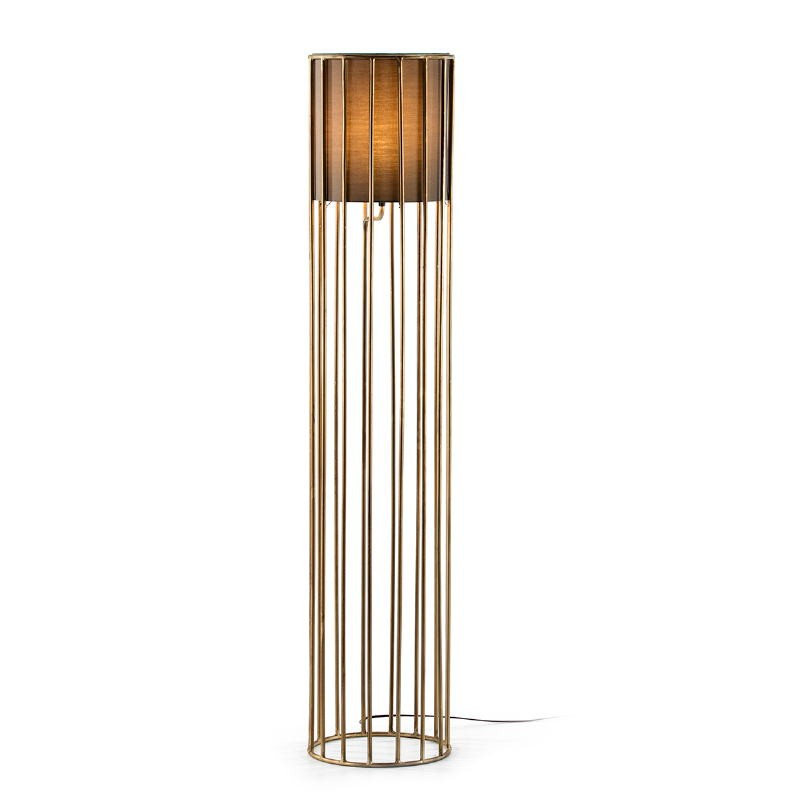 Standard Lamp 30X30X145 Metal Golden With Lampshade Brown