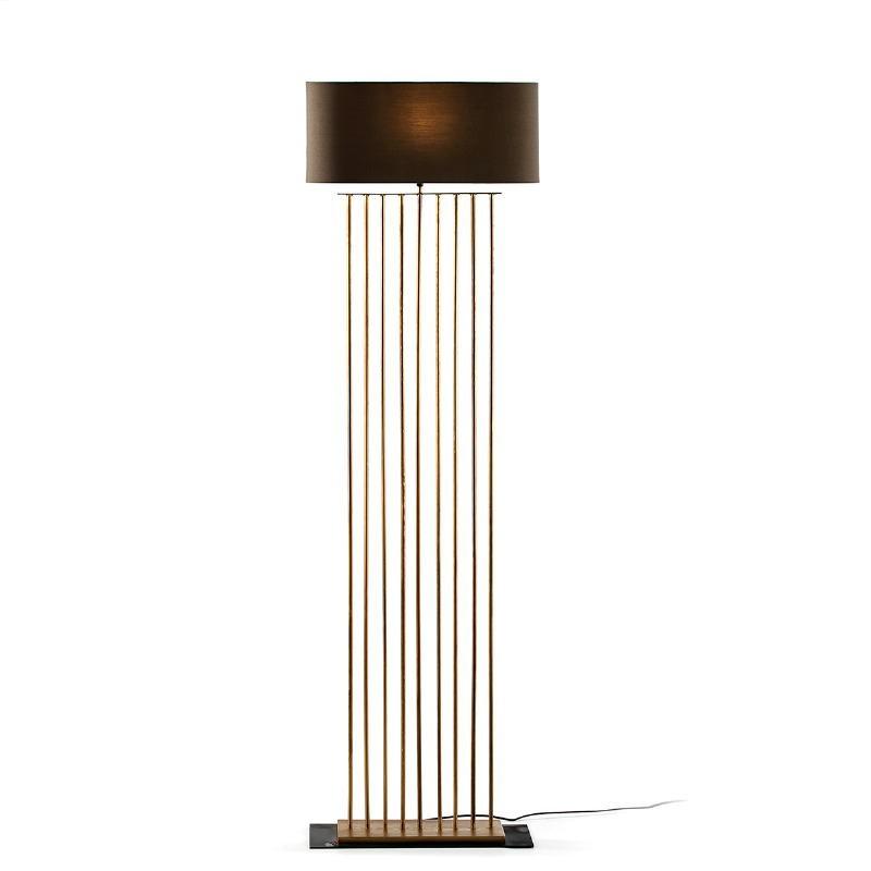 Lámpara De Pié 47X21X139 Metal Dorado Con Pantalla Gris - image 52103