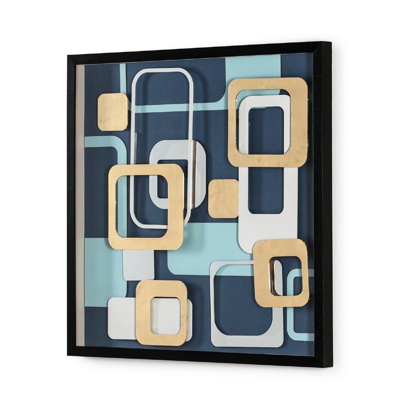 Bild 80X4X80 Glas/Holz Schwarz/Mehrfarbig