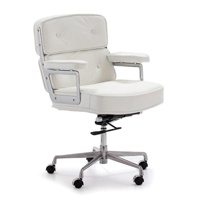 Chaise de Bureau réglable en hauteur 64x60x93 99 cm Métal Cuir Blanc