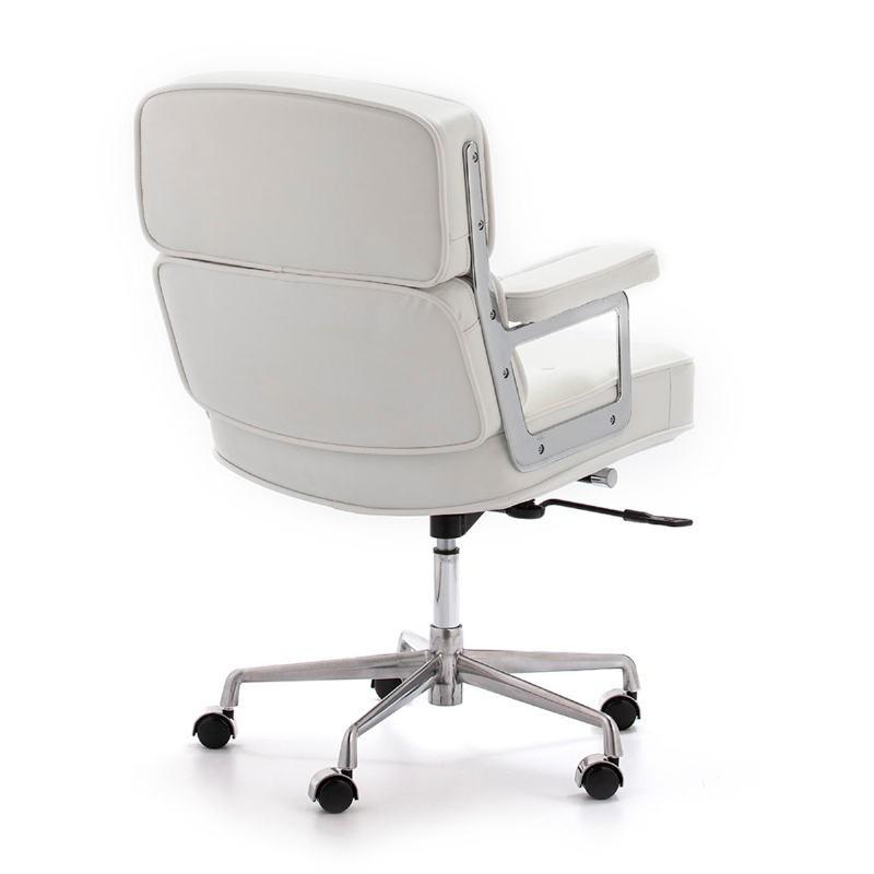 Chaise de Bureau réglable en hauteur 64x60x93 99 cm Métal Cuir Blanc - image 52182