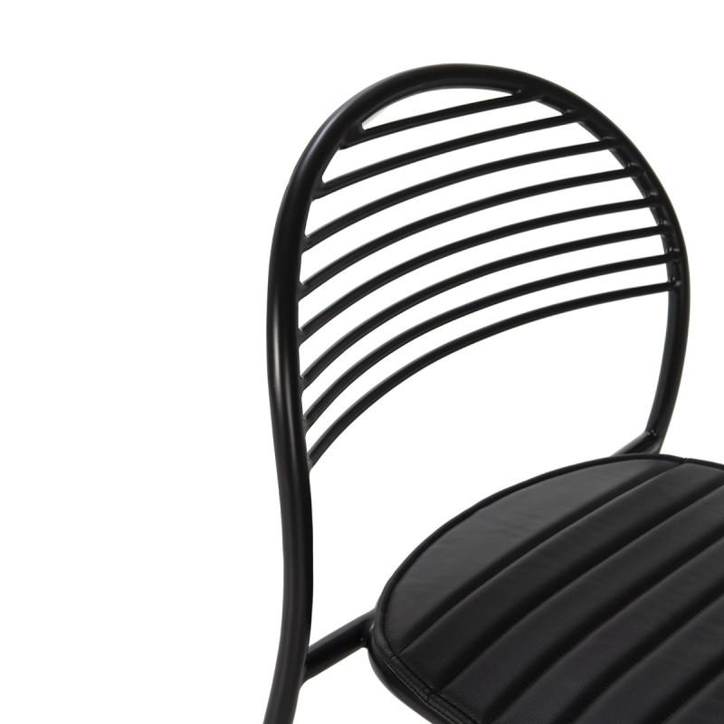 Chaise 47x55x81 Métal Noir Cuir synthétique Noir - image 52189
