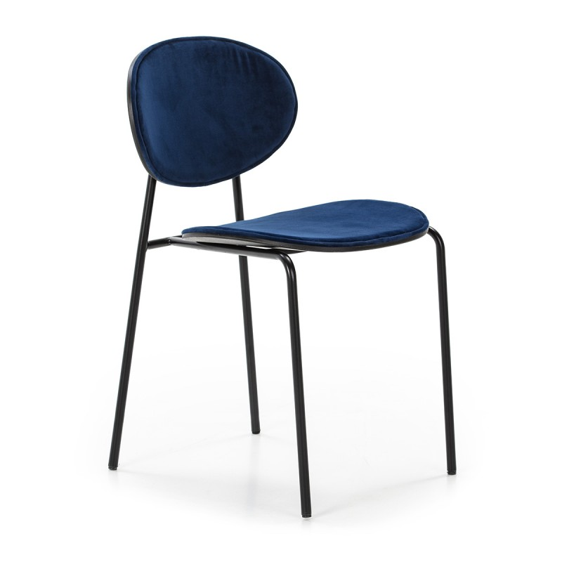 Chaise 42x51x78 cm Métal Noir ABS Noir Velours Bleu