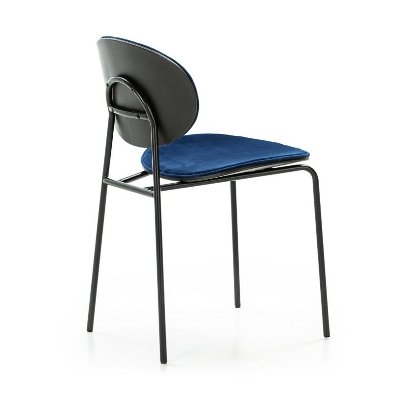 Chaise 42x51x78 cm Métal Noir ABS Noir Velours Bleu - image 52233