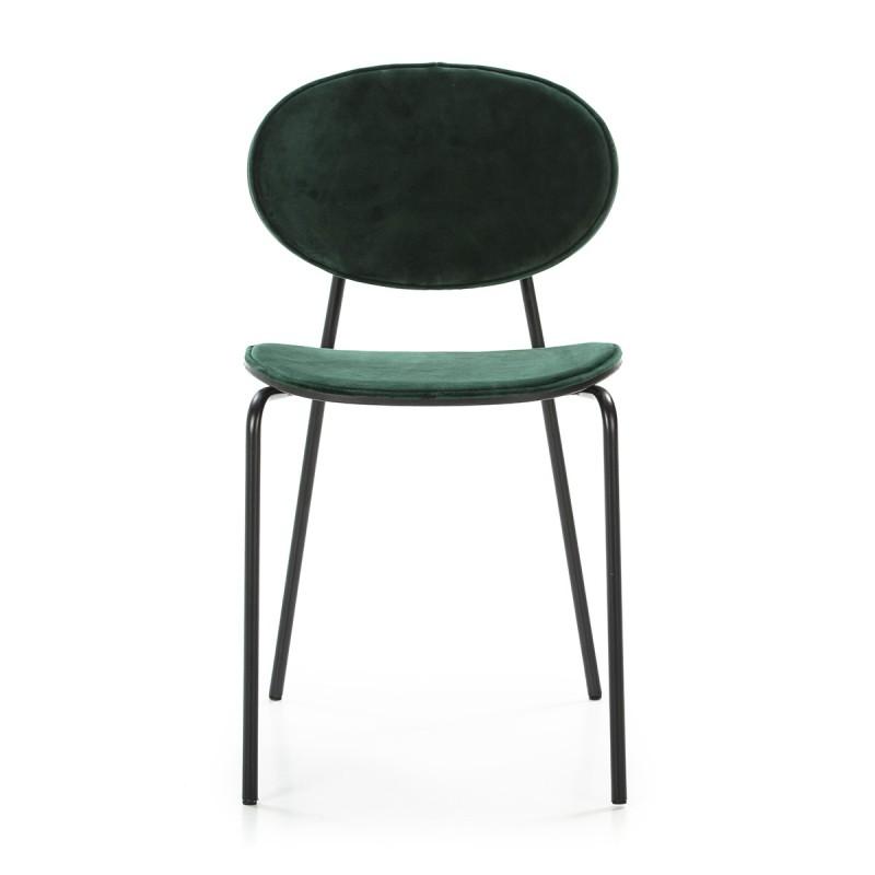 Chaise 42x51x78 cm Métal Noir ABS Noir Velours Vert - image 52236