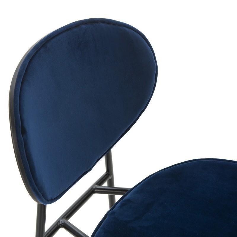 Tabouret de bar 42x51x107 cm Métal Noir ABS Noir Velours Bleu - image 52242