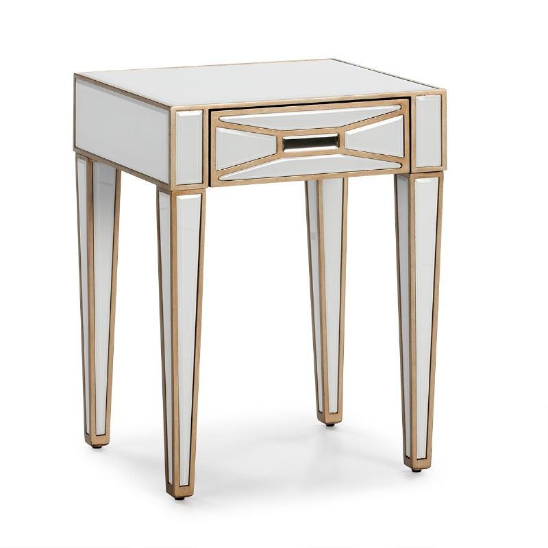 Table de chevet 45x40x60 cm Miroir Verre Blanc MDF Doré - image 52247