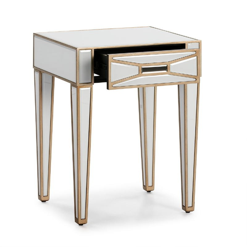 Bedside Table 45X40X60 Mirror Glass White Mdf Golden - image 52250