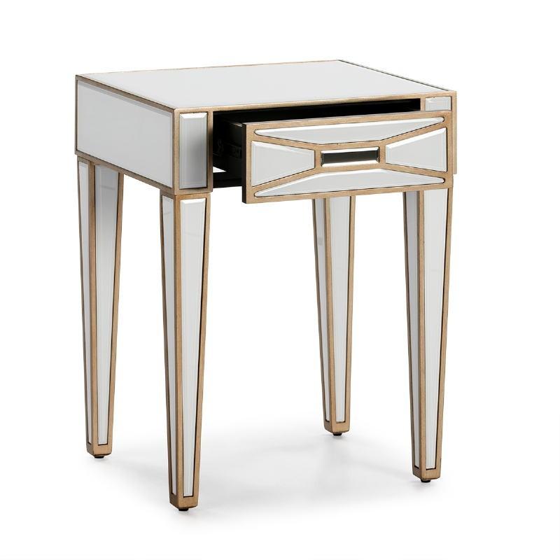 Table de chevet 45x40x60 cm Miroir Verre Blanc MDF Doré - image 52250