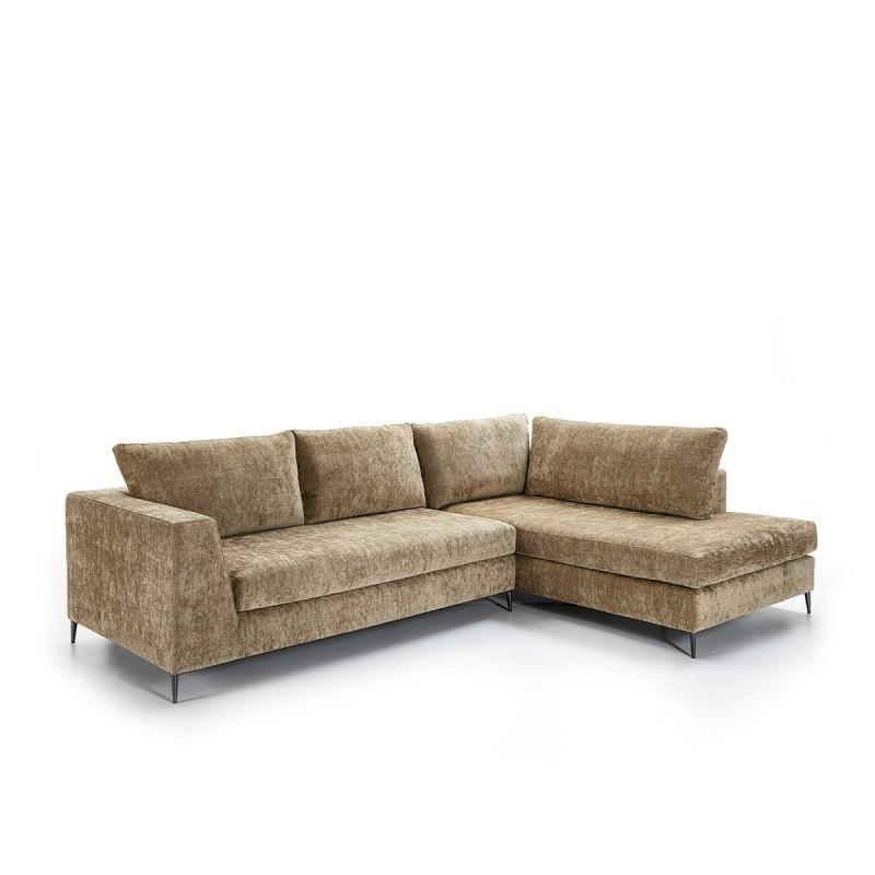Canapé d'angle 3 places 300x210x90 cm tissu Brun