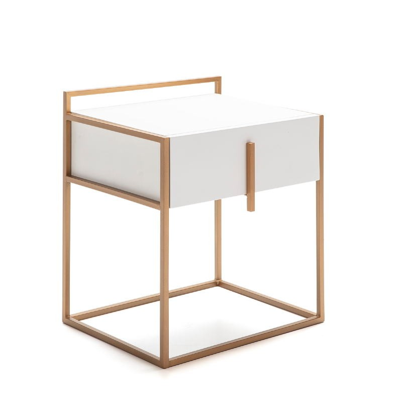 Bedside Table 50X40X60 Wood White Metal Golden - image 52285