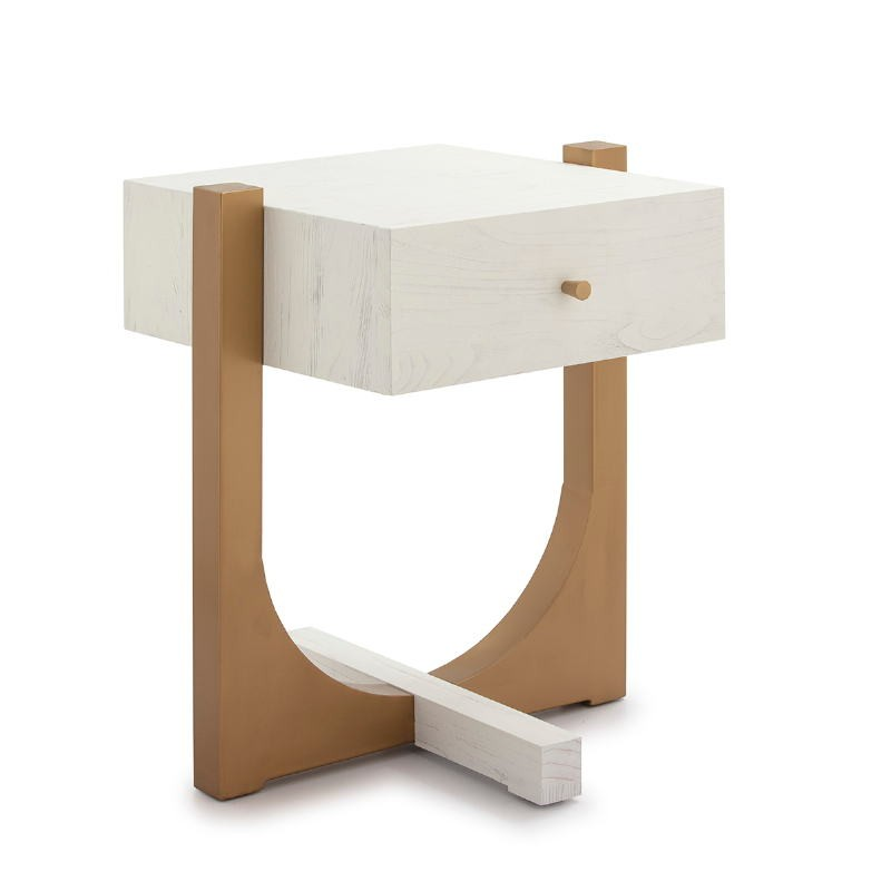 Bedside Table 51X45X61 Wood White Metal Golden