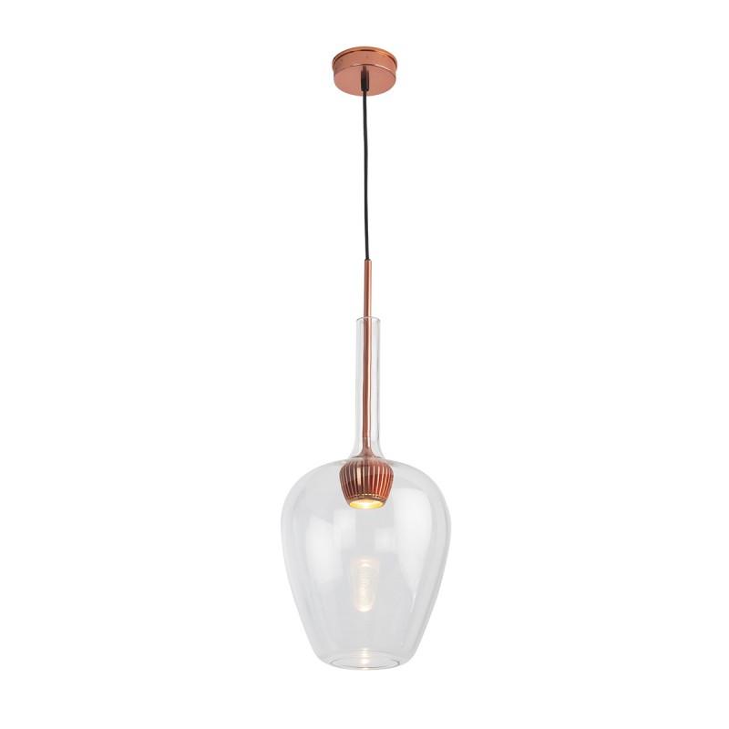 Lampada A Sospensione 25X25X66 Alluminio Colore Rame Vetro Trasparente