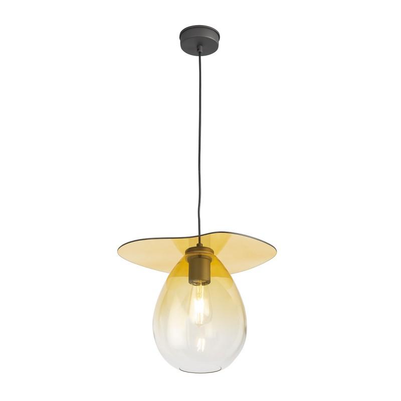Lampada A Sospensione 34X33X31 Metallo Nero Vetro Ambra