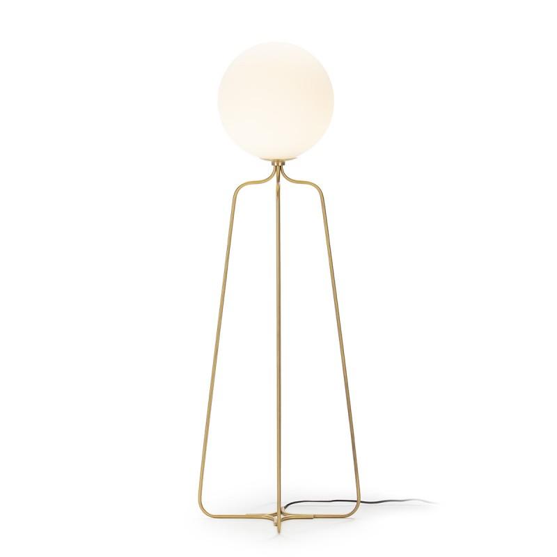 Lámpara De Pié 51X37X170 Metal Dorado Cristal Blanco - image 52310