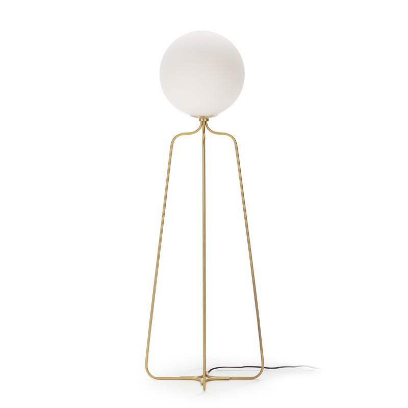 Standard Lamp 51X37X170 Metal Golden Glass White - image 52311
