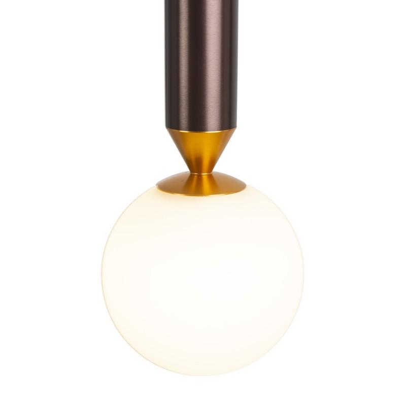 Hängelampe 8X8X38 Aluminium Braun/Golden/Glas Weiß - image 52325
