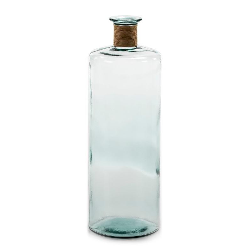 Vase 25x25x75 Verre Transparent Jonc Naturel