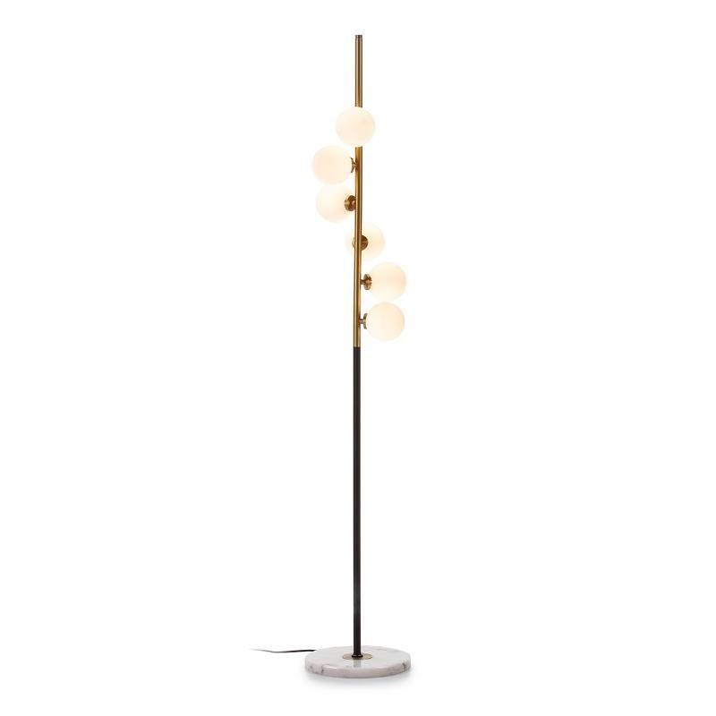 Lámpara De Pié 27X27X165 Cristal Blanco Mármol Blanco Metal Dorado Negro - image 52366