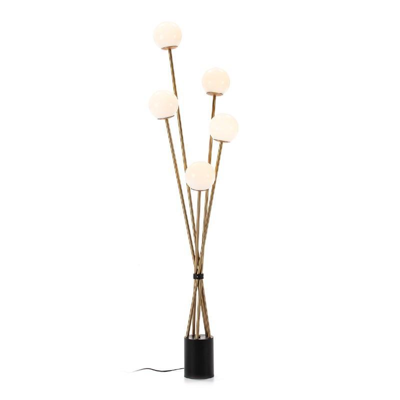 Standard Lamp 50X50X178 Glass White Metal Golden Black