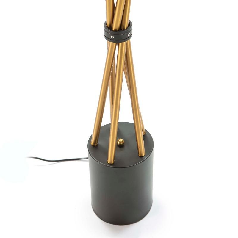 Standard Lamp 50X50X178 Glass White Metal Golden Black - image 52377