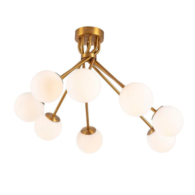 Lampe suspendue 100x100x58 Verre Blanc Métal Doré