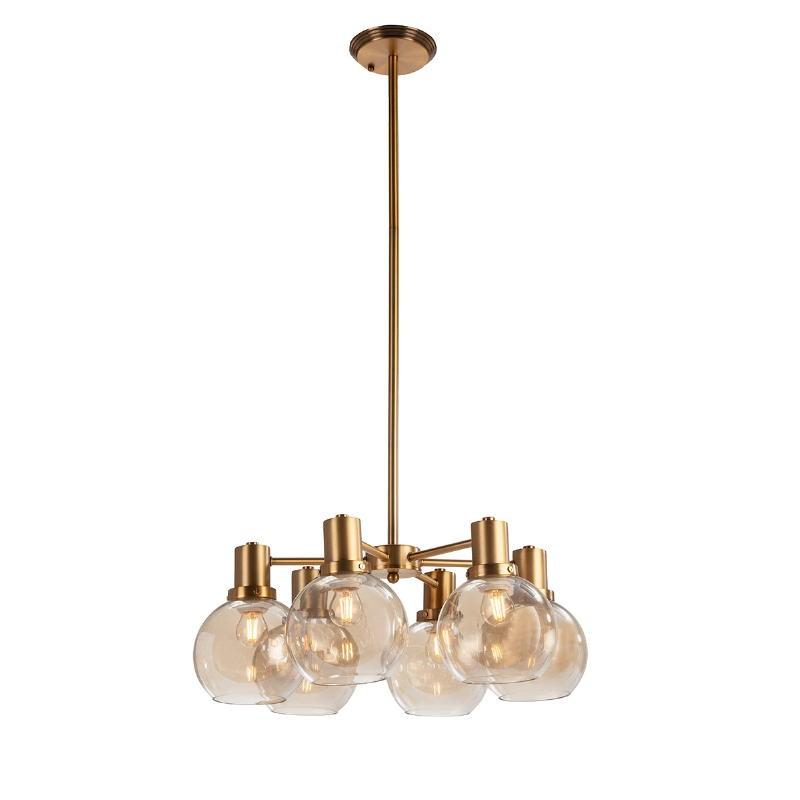 Lámpara Colgante 46X46X112 Cristal Ámbar Metal Dorado