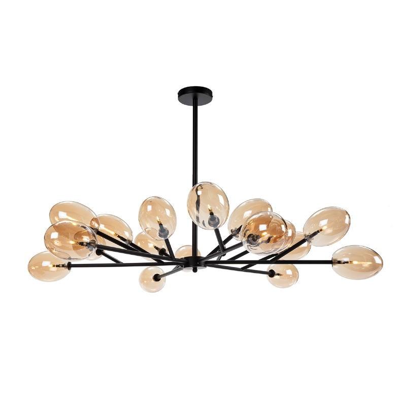 Lampada A Sospensione 130X130X74 Vetro Ambra Metallo Nero