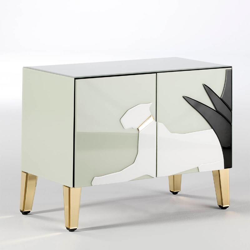 Buffet 2 Porte 90X45X70 Specchio Dorato Vetro Verde Bianco Nero