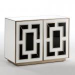 Sideboard 2 Doors 98X45X74 Glass White Black