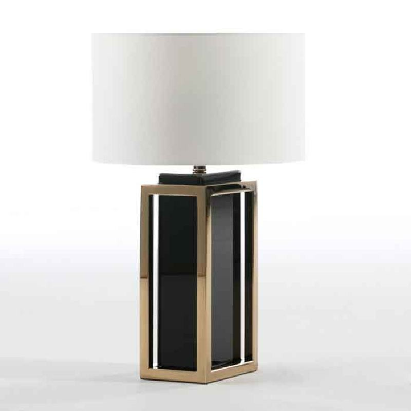 Table Lamp Without Lampshade 20X14X45 Steel Golden Glass Black