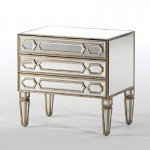 Chest Of Drawers 3 Drawers 62X40X60 Mirror Mdf Golden