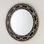 Miroir 110x2x110 Verre Noir et Blanc