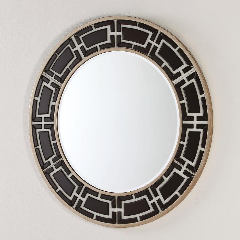 Miroir 110x2x110 Verre Noir et Blanc - image 52455