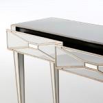 Konsole 2 Schubladen 133X40X78 Spiegel/Glas Weiß/Mdf Golden