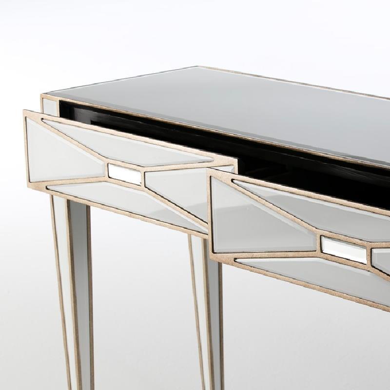 Consola 2 Cajones 133X40X78 Espejo Cristal Blanco Dm Dorado - image 52458