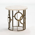 Auxiliary Table 50X50 Metal Bronze Marble White