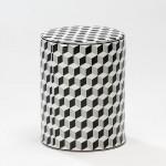 Tabouret bas 33x43 Céramique Blanc Noir Gris